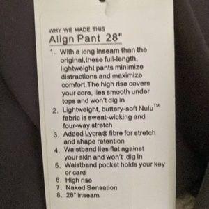 """lululemon athletica Pants - Lululemon Align 28"""" Titanium Size 4"""